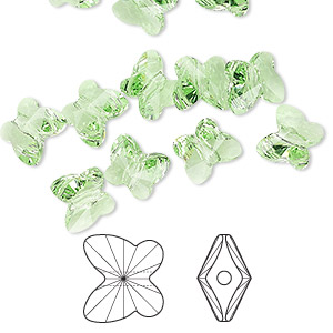 bead, swarovski crystals, crystal passions, peridot, 8x7mm faceted butterfly (5754). sold per pkg of 48.