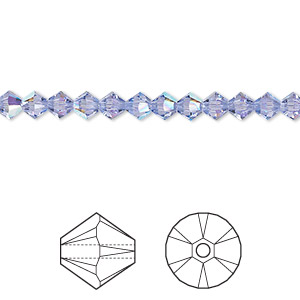 bead, swarovski crystals, crystal passions, provence lavender ab, 4mm xilion bicone (5328). sold per pkg of 48.