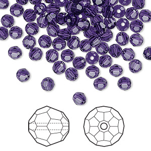 bead, swarovski crystals, crystal passions, purple velvet, 4mm faceted round (5000). sold per pkg of 144 (1 gross).