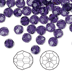 bead, swarovski crystals, crystal passions, purple velvet, 6mm faceted round (5000). sold per pkg of 144 (1 gross).