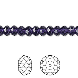 bead, swarovski crystals, crystal passions, purple velvet, 6x4mm faceted rondelle (5040). sold per pkg of 12.