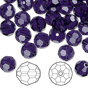 bead, swarovski crystals, crystal passions, purple velvet, 8mm faceted round (5000). sold per pkg of 144 (1 gross).