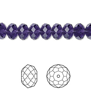 bead, swarovski crystals, crystal passions, purple velvet, 8x6mm faceted rondelle (5040). sold per pkg of 144 (1 gross).