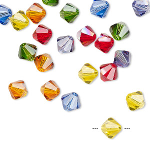bead, swarovski crystals, crystal passions, rainbow, 6mm xilion bicone (5328). sold per pkg of 24.