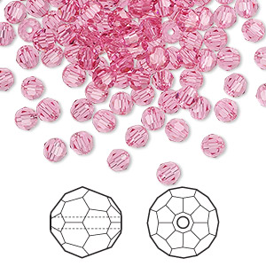 bead, swarovski crystals, crystal passions, rose, 4mm faceted round (5000). sold per pkg of 144 (1 gross).