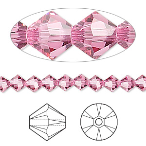 bead, swarovski crystals, crystal passions, rose, 5mm xilion bicone (5328). sold per pkg of 144 (1 gross).