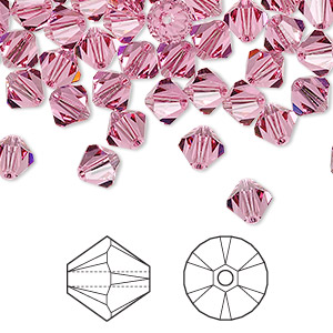 bead, swarovski crystals, crystal passions, rose, 6mm xilion bicone (5328). sold per pkg of 24.