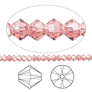 bead, swarovski crystals, crystal passions, rose peach, 3mm xilion bicone (5328). sold per pkg of 48.