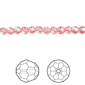 bead, swarovski crystals, crystal passions, rose peach, 4mm faceted round (5000). sold per pkg of 144 (1 gross).