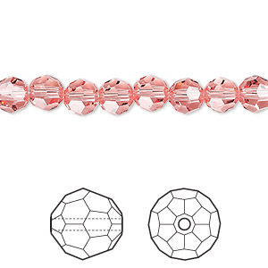 bead, swarovski crystals, crystal passions, rose peach, 6mm faceted round (5000). sold per pkg of 144 (1 gross).