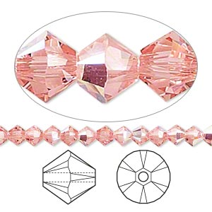 bead, swarovski crystals, crystal passions, rose peach ab, 4mm xilion bicone (5328). sold per pkg of 48.