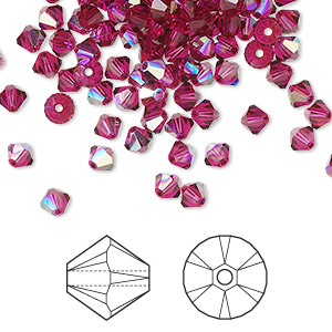 bead, swarovski crystals, crystal passions, ruby ab, 4mm xilion bicone (5328). sold per pkg of 48.