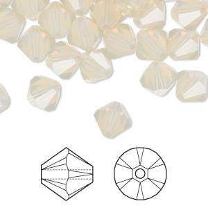 bead, swarovski crystals, crystal passions, sand opal, 8mm faceted bicone (5301). sold per pkg of 12.