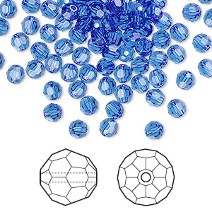 bead, swarovski crystals, crystal passions, sapphire, 4mm faceted round (5000). sold per pkg of 144 (1 gross).