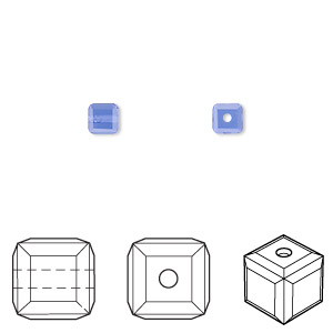 bead, swarovski crystals, crystal passions, sapphire, 4x4mm faceted cube (5601). sold per pkg of 48.