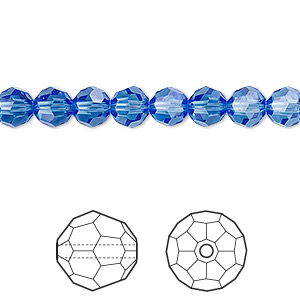 bead, swarovski crystals, crystal passions, sapphire, 6mm faceted round (5000). sold per pkg of 12.