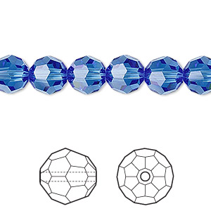 bead, swarovski crystals, crystal passions, sapphire, 8mm faceted round (5000). sold per pkg of 12.