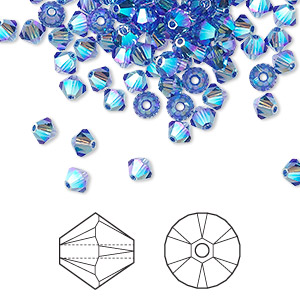bead, swarovski crystals, crystal passions, sapphire ab2x, 4mm xilion bicone (5328). sold per pkg of 144 (1 gross).