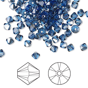 bead, swarovski crystals, crystal passions, sapphire satin, 4mm xilion bicone (5328). sold per pkg of 1,440 (10 gross).