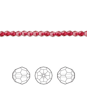 bead, swarovski crystals, crystal passions, scarlet, 3mm faceted round (5000). sold per pkg of 144 (1 gross).
