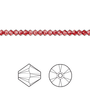 bead, swarovski crystals, crystal passions, scarlet, 3mm xilion bicone (5328). sold per pkg of 48.