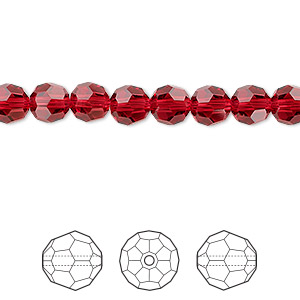 bead, swarovski crystals, crystal passions, scarlet, 6mm faceted round (5000). sold per pkg of 12.