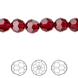 bead, swarovski crystals, crystal passions, scarlet, 8mm faceted round (5000). sold per pkg of 144 (1 gross).