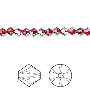 bead, swarovski crystals, crystal passions, scarlet ab, 4mm xilion bicone (5328). sold per pkg of 144 (1 gross).