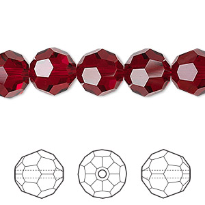 bead, swarovski crystals, crystal passions, siam, 10mm faceted round (5000). sold per pkg of 2.