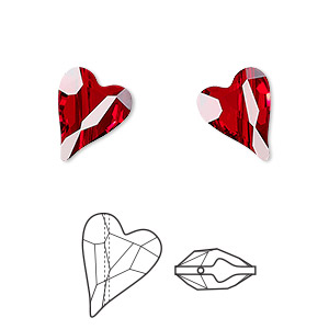 bead, swarovski crystals, crystal passions, siam, 12x10mm diagonally drilled left- and right-facing faceted wild heart (5743). sold per pkg of 2.