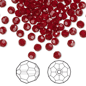 bead, swarovski crystals, crystal passions, siam, 4mm faceted round (5000). sold per pkg of 144 (1 gross).