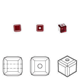 bead, swarovski crystals, crystal passions, siam, 4x4mm faceted cube (5601). sold per pkg of 48.