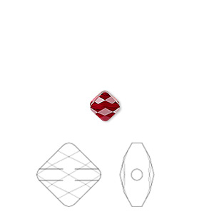bead, swarovski crystals, crystal passions, siam, 6x6mm faceted mini rhombus (5054). sold per pkg of 2.