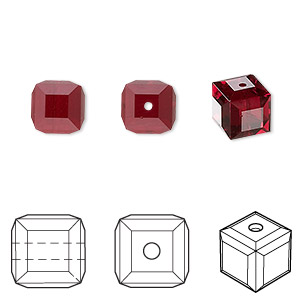 bead, swarovski crystals, crystal passions, siam, 8x8mm faceted cube (5601). sold per pkg of 6.