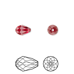 bead, swarovski crystals, crystal passions, siam, 9x6mm faceted teardrop (5500). sold per pkg of 144 (1 gross).