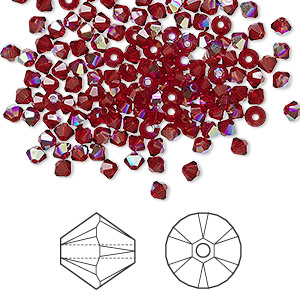 bead, swarovski crystals, crystal passions, siam ab, 3mm xilion bicone (5328). sold per pkg of 48.