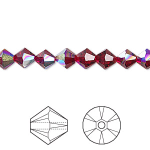 bead, swarovski crystals, crystal passions, siam ab, 6mm faceted bicone (5301). sold per pkg of 24.