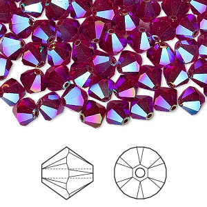 bead, swarovski crystals, crystal passions, siam ab2x, 6mm xilion bicone (5328). sold per pkg of 144 (1 gross).