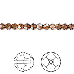 bead, swarovski crystals, crystal passions, smoked topaz, 4mm faceted round (5000). sold per pkg of 12.