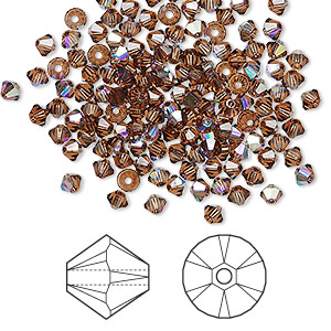 bead, swarovski crystals, crystal passions, smoked topaz ab, 3mm xilion bicone (5328). sold per pkg of 48.