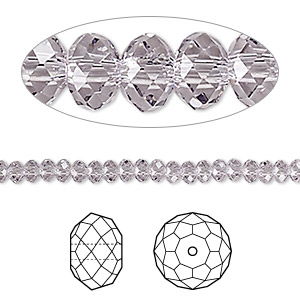 bead, swarovski crystals, crystal passions, smoky mauve, 4x3mm faceted rondelle (5040). sold per pkg of 12.