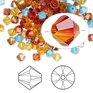 bead, swarovski crystals, crystal passions, sonoran, 4mm xilion bicone (5328) and faceted bicone (5301). sold per pkg of 48.