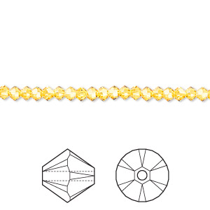 bead, swarovski crystals, crystal passions, sunflower, 3mm xilion bicone (5328). sold per pkg of 144 (1 gross).