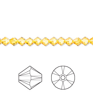 bead, swarovski crystals, crystal passions, sunflower, 4mm xilion bicone (5328). sold per pkg of 144 (1 gross).