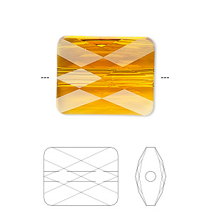 bead, swarovski crystals, crystal passions, tangerine, 10x8mm faceted mini rectangle (5055). sold per pkg of 24.