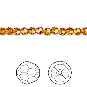 bead, swarovski crystals, crystal passions, tangerine, 4mm faceted round (5000). sold per pkg of 12.