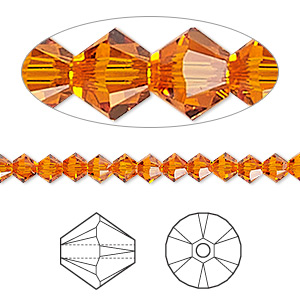 bead, swarovski crystals, crystal passions, tangerine, 4mm xilion bicone (5328). sold per pkg of 48.