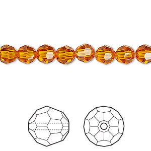 bead, swarovski crystals, crystal passions, tangerine, 6mm faceted round (5000). sold per pkg of 12.