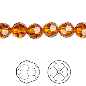 bead, swarovski crystals, crystal passions, tangerine, 8mm faceted round (5000). sold per pkg of 144 (1 gross).