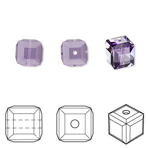 bead, swarovski crystals, crystal passions, tanzanite, 8x8mm faceted cube (5601). sold per pkg of 48.